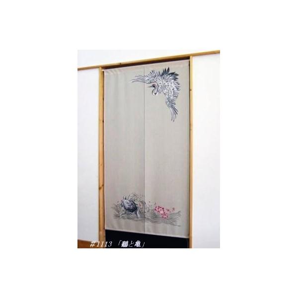 Noren rideau japonais grue et tortue fran ais - Rideau motif japonais ...