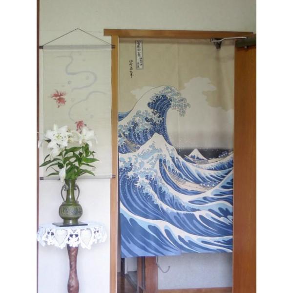 Noren rideau japonais vague et mont fuji fran ais - Rideau motif japonais ...