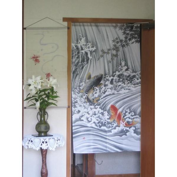 Noren carpe rideau japonais fran ais - Rideau motif japonais ...